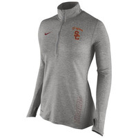 Women's Nike Gray USC Trojans Stadium Element 1/2 Zip Performance Jacket