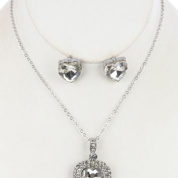 Faceted Glass Stone  Heart  Pave Crystal Stone Link Chain Necklace Earring Set