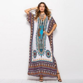 Fashion  Online Shopping Elegant African Ethnic Dress Moroccan Clothing African Summer Dress Casual Vestidos Femininos PLus size