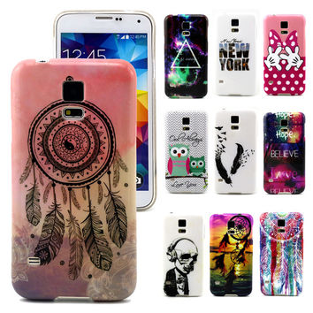 Phone Cases for Samsung Galaxy S5 Retro Soft TPU Case for Samsung S5 Cover Luxury Sunset/Skull/Dream Catcher painting case