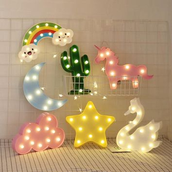LED Flamingo Unicorn Night Lights Pineapple Cactus Star Luminary Wall Lamp decorations Lighting Gifts Christmas holiday birthday