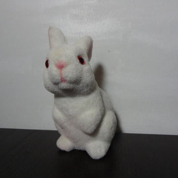 Vintage White Fuzzy Bunny Coin Bank, Flocked Bunny - Children's Room or Easter Decor