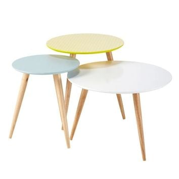 Nest of 3 wooden vintage coffee tables, multicoloured W 40cm - W 60cm Fjord | Maisons du Monde