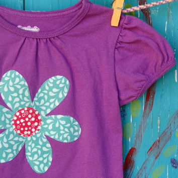 Flower Appliqued Tshirt Purple Capsleeve Girls 4T by OddEDesigns