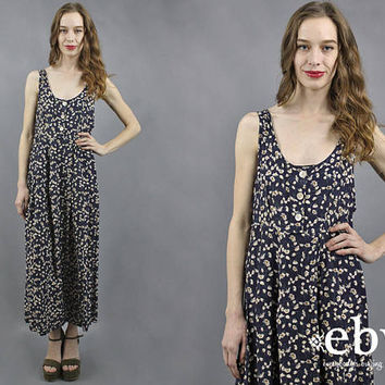 90s Floral Dress 90s Maxi Dress Floral Maxi Dress 90s Dress 1990s Dress 1990s Maxi Dress Soft Grunge Dress Navy Floral Dress Summer Dress M