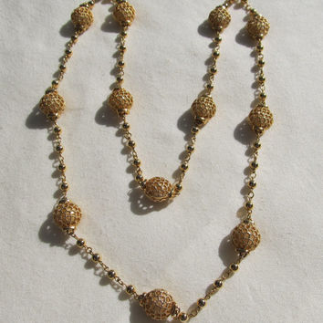 1970s-80s Faux Pearl in Cage Station Necklace