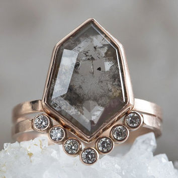 One of a Kind Natural Grey Geometric Diamond Ring