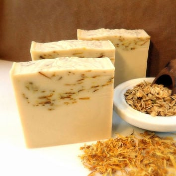 Unscented Castille Soap with colloidal oatmeal and calendula - handmade cold process savon - vegan