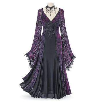 Velvet Burnout & Lace Maxi Dress - Women's Clothing & Symbolic Jewelry – Sexy, Fantasy, Romantic Fashions