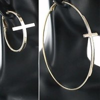 Gold or Silver Cross Hoop Earrings 2 Pair/2 Sizes