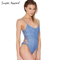 Simplee Apparel denim lace up 1 one piece swimsuit Women high waist swimwear female Sexy padded bathing suit bodysuit monokini