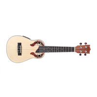 Andoer 23'' Compact Ukelele Hawaiian Spruce Rosewood Fretboard Bridge Aquila Concert Stringed Instrument with Built-in EQ Gig Bag Strap