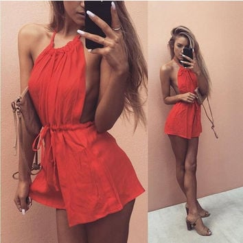 Red Halter Drawstring Romper