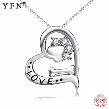 Genuine 925 Sterling Silver Love Heart Crystal Dog Paw Print Bone Pendants Necklaces Puppy Claw Fashion Jewerly Women GNX13860
