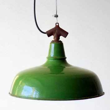 Industrial Enamel Pendant Lampshade / Bauhaus Olive Green Merchant Machinist Workshop Lighting - France - 50s