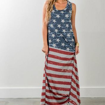American Flag, Maxi Dress (Small-2XL)
