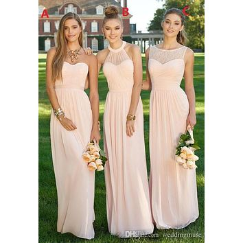 Blush Pink Bridesmaid Dresses 2017 Whosale Different Styles Sleeveless Cheap Floor-Length Long Maid of Honour Plus Size 11221023