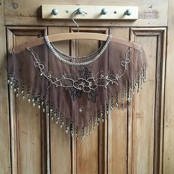 Vintage boho collar earthy brown womens collars beaded lace trim beading floral gold evening clothes festival clothing Dolly Topsy Etsy UK