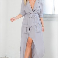 Keep Count Maxi Dress in Grey