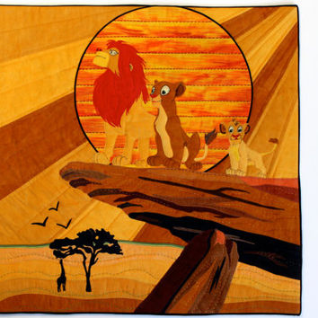 Pride Rock Art Quilt - Lion King Movie Musical Wall Hanging - Gold & Black Wall Art - Mixed Medium, Fiber Art by Sally Manke - Handmade