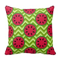 Bright Summer Picnic Watermelons on Green Chevron