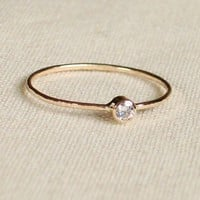 Thread of Gold Tiny Stacking Ring with 14k Gold Set by MARYJOHN