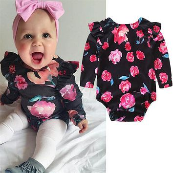 Newborn baby boutique vintage floral romper jumpsuit Girl Bloomer Ruffle Romper Kids clothes matched