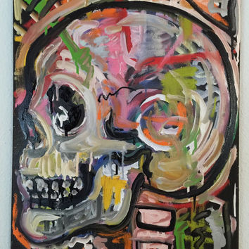 Skull Art Colorful Original Still Life Painting 16x20 Pop Art Painting Skeleton Art Canvas Painting Canvas Wall Art Urban Art Gothic Decor