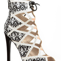 Abstract Print Cut Out Single Sole Heels