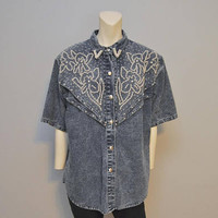 Vintage 1980's Denim Button Down Shirt with Beaded Pearl Design Embellishment Stone Wash Acid Wash Denim Blouse Short Sleeve Top Size L