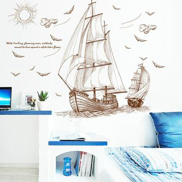 3D Wallpaper Creative Sea Sailing Kids Room Romantic Individuality Decoration Wall Stickers Living Room Bedroom TV Murals