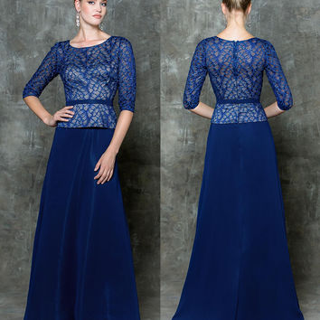 GLOW G710 Prom Lace Half Sleeve Bust Chiffon Evening Dress