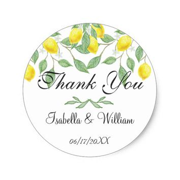 Modern Lemon Summer Wedding Thank You Classic Round Sticker