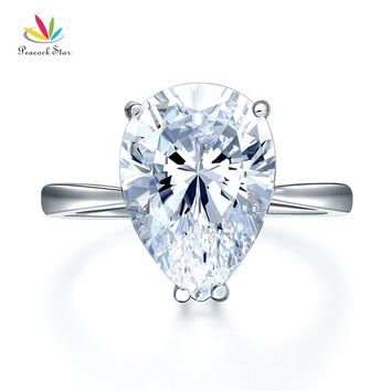 Peacock Star Solid 925 Sterling Silver Luxury Ring Solitaire Pear 4.5 Carat Wedding Engagement Party Pageant Jewelry CFR8306