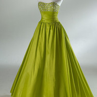 2012 Style Ball Gown Strapless Applique Sleeveless Floor-length Taffeta Prom Dresses / Evening Dresses