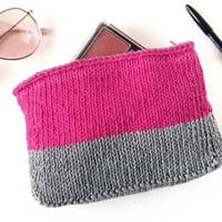 Pink Makeup Bag – Makeup Tote – Tote Bag Organizer – Birthday Gift for Her – Knit Purse – Zipper Pouch - Small Make Up Bag - Pink and Grey