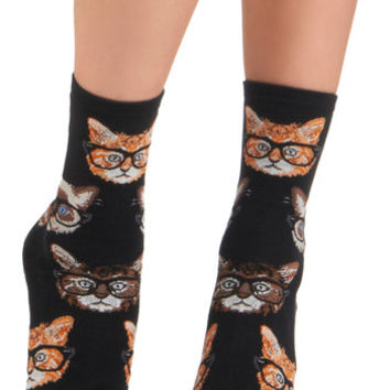 ModCloth Quirky One Wise Kitty Socks