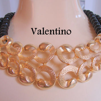 Vintage Valentino Runway Haute Couture Brushed Gold Plate Black Necklace / Designer Signed  / Jewelry / Jewellery