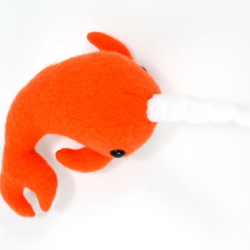 Small Orange Stuffed Animal Narwhal Plush Toy