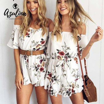 AZULINA Casual Off Shoulder Floral Print Women Romper Jumpsuit
