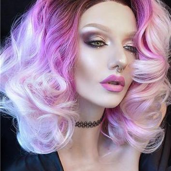 Short Butterfly Orchid Ombre Bob Synthetic Lace Front Wig