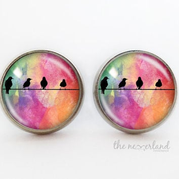 Birds stud earrings, autumn jewelry, woman gift, glass cabochon jewellery by The Neverland