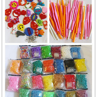 6000 (10 bags)mix glow in dark, glitter, rubber bands refill rainbow loom bands with clips free 2 hooks 25 charms free shipping