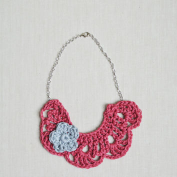 Crochet Toddler Necklace - Bib Necklace For Girls - Necklace w/Flower
