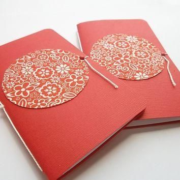 Paper and Fabric Mini Notebooks-Jotters-Set of 2 - $5.50 - Handmade Crafts by Pandoras