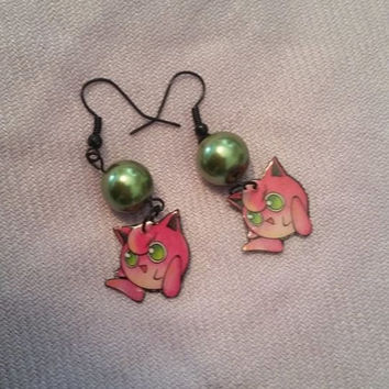 Pokemon Jigglypuff Pearl Bead Earrings