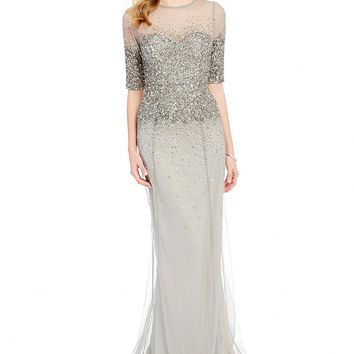 Adrianna Papell Beaded Sheer-Sleeve Gown | Dillards