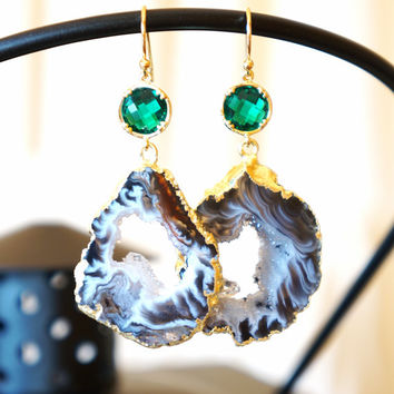 Shimmer Starry Night Geode Druzy Earring - Black - Agate Geode - Geode Earrings - Druzy - Bridal Jewelry