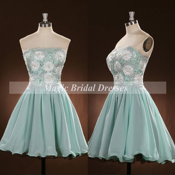 Exquisite Handmade Flowers Prom Dress 2015 Strapless Embroidery Beading Prom Gown A-line Short Chiffon Dress Students Homecoming Dress