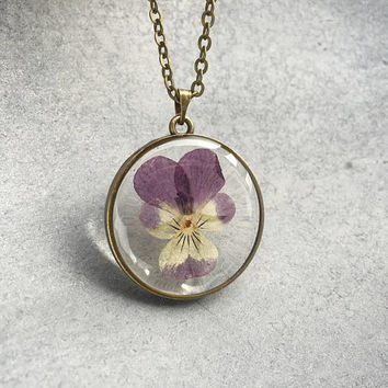 Purple/Yellow Pansy in slim Antique Bronze Open Back Bezel Resin Necklace, Resin Pendant, Pressed Flower, Flower Jewelry, Valentine's Day